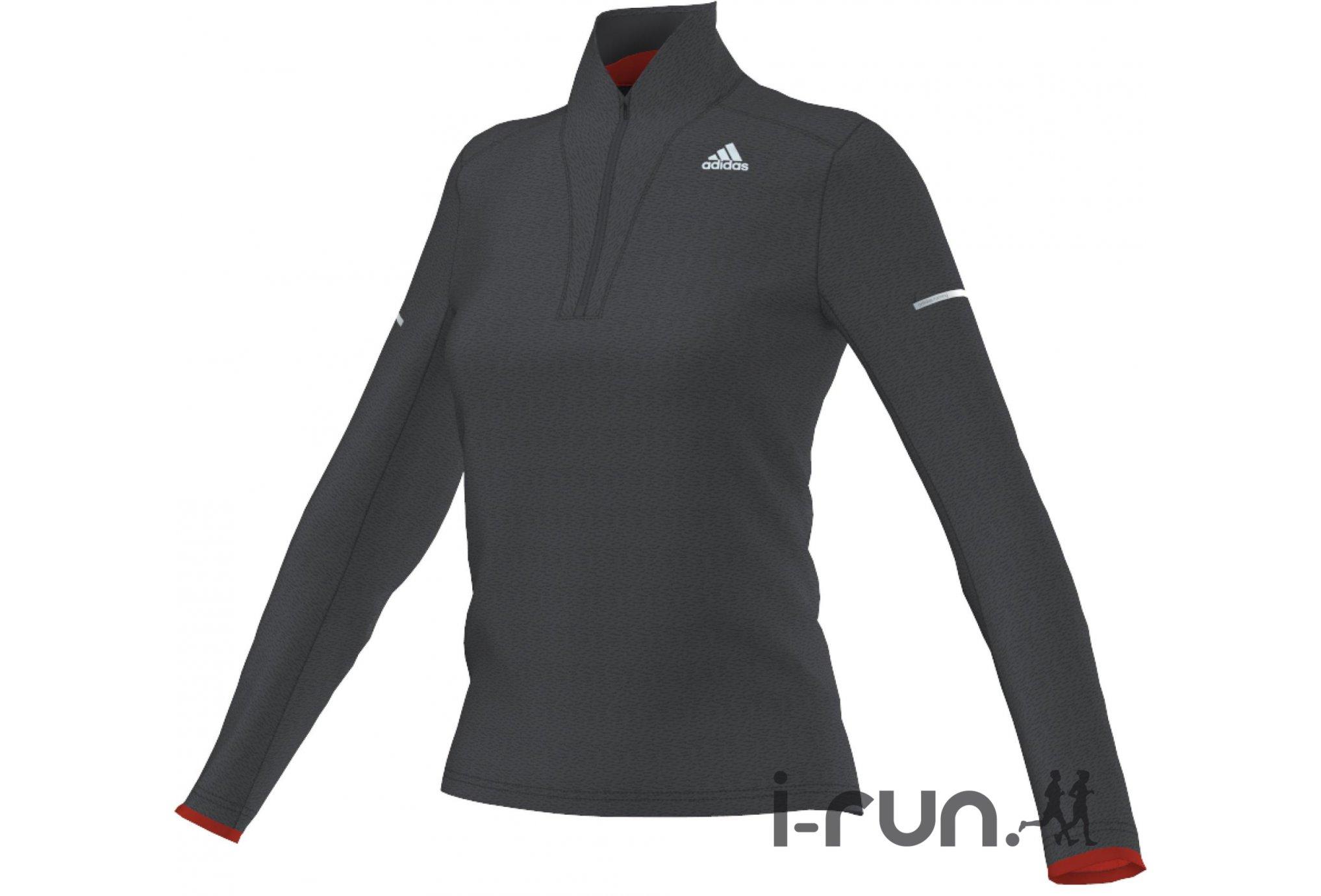 Adidas Maillot climaheat 1/2 zip w vêtement running femme