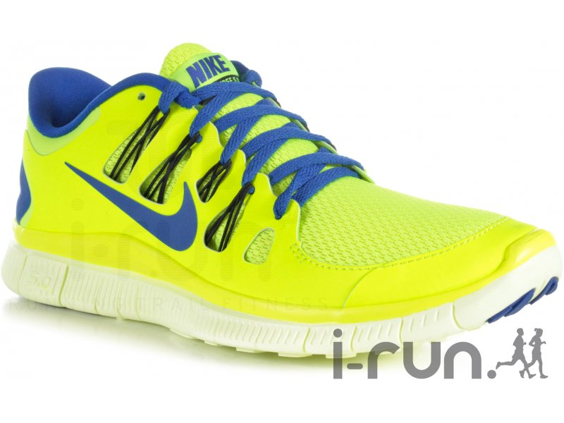 chaussures running nike free 5.0 homme bleu jaune