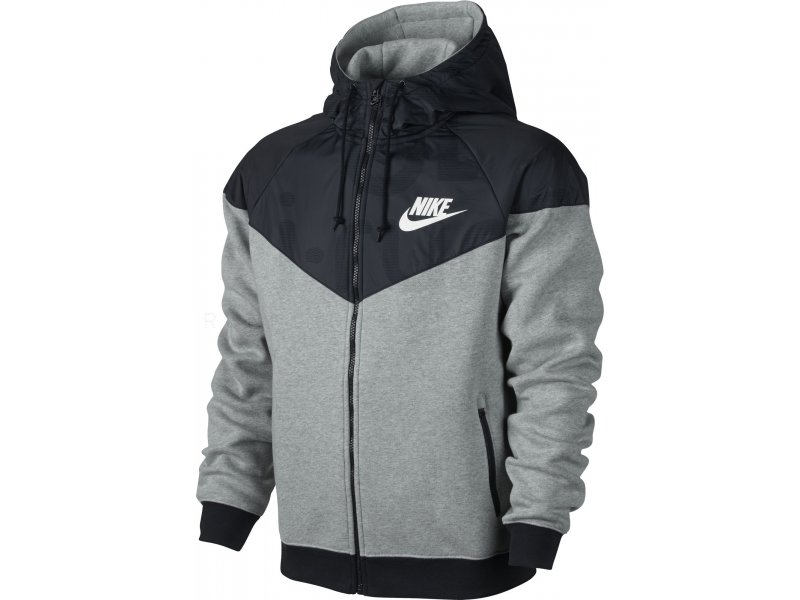 nike veste windrunner fleece mix m pas cher v tements homme running training en promo. Black Bedroom Furniture Sets. Home Design Ideas