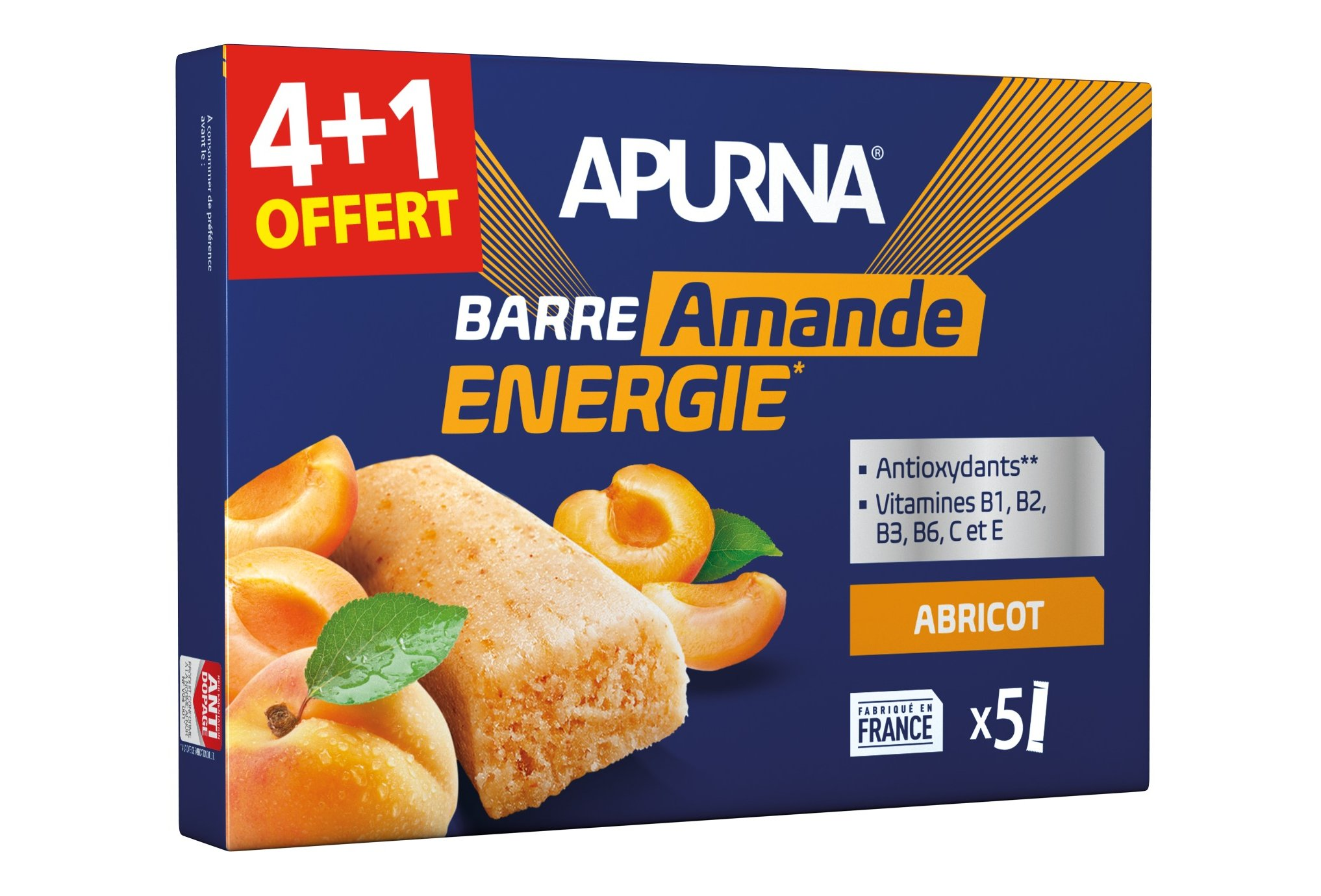 Apurna Pack de barras energéticas albaricoque almendra 4+1 Diététique Barres