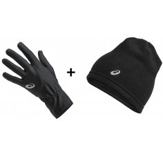 Asics Pack Beanie Performance + Running Gloves Performance