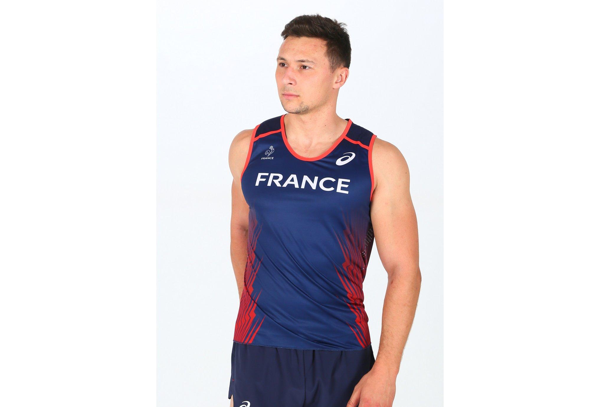 Asics T&F Singlet Équipe de France M Diététique Vêtements homme