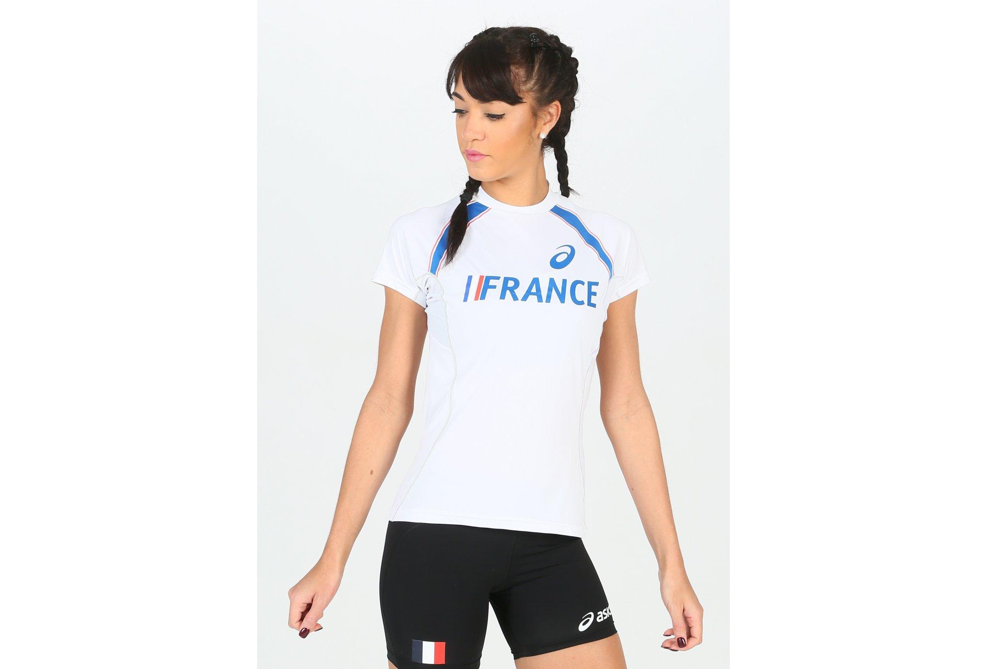 Asics Tee-shirt manches courtes T&F Équipe de France W vêtement running femme