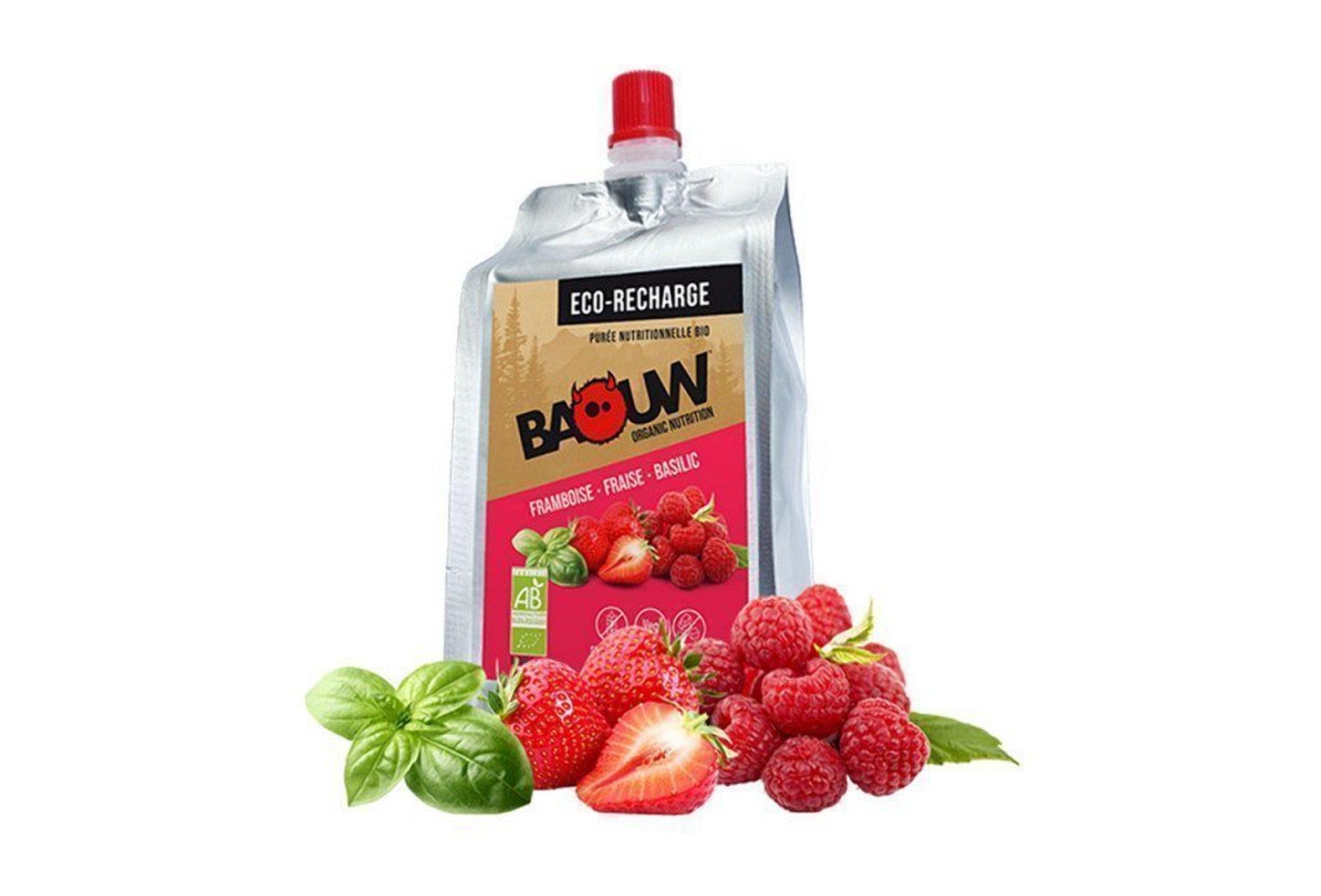 Baouw Eco recharge XXL purée nutritionnelle bio - Framboise - Fraise - Basilic Diététique Gels