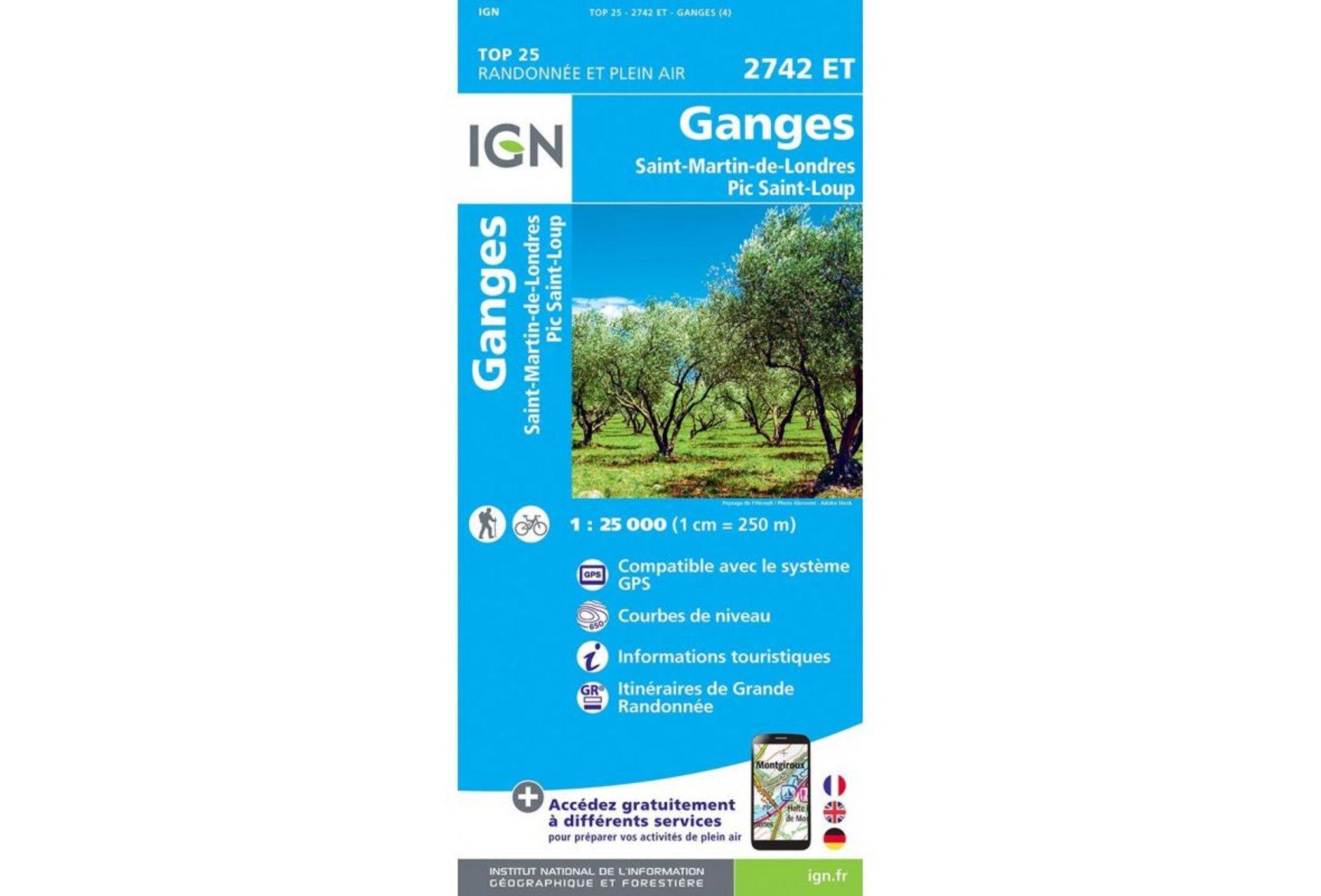 Carte IGN Ganges 2742ET Cartes
