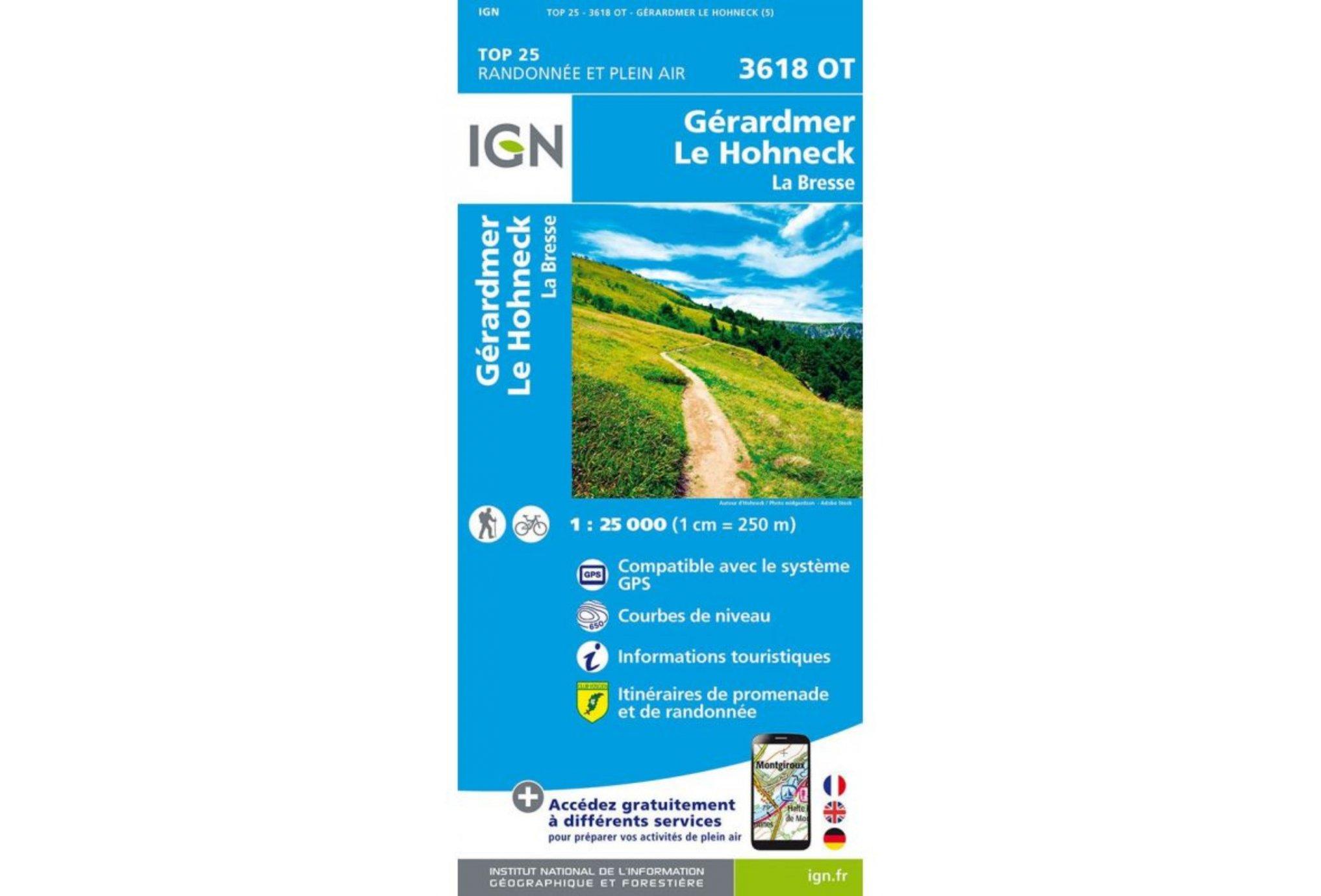 Carte IGN Gérardmer Le Hohneck 3618OT Cartes