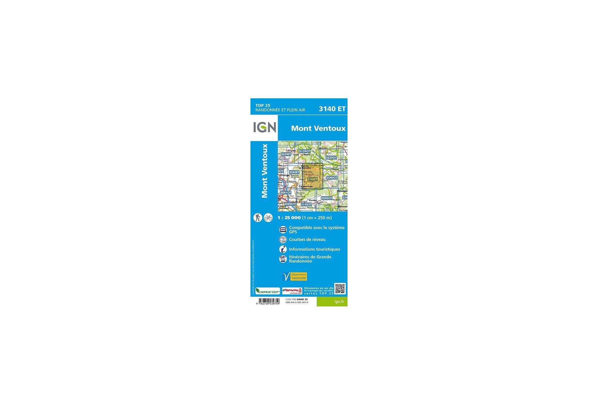 Carte IGN Mont Ventoux 3140ET Cartes