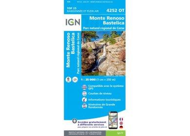 Carte IGN Monte Renoso Bastelica 4252OT