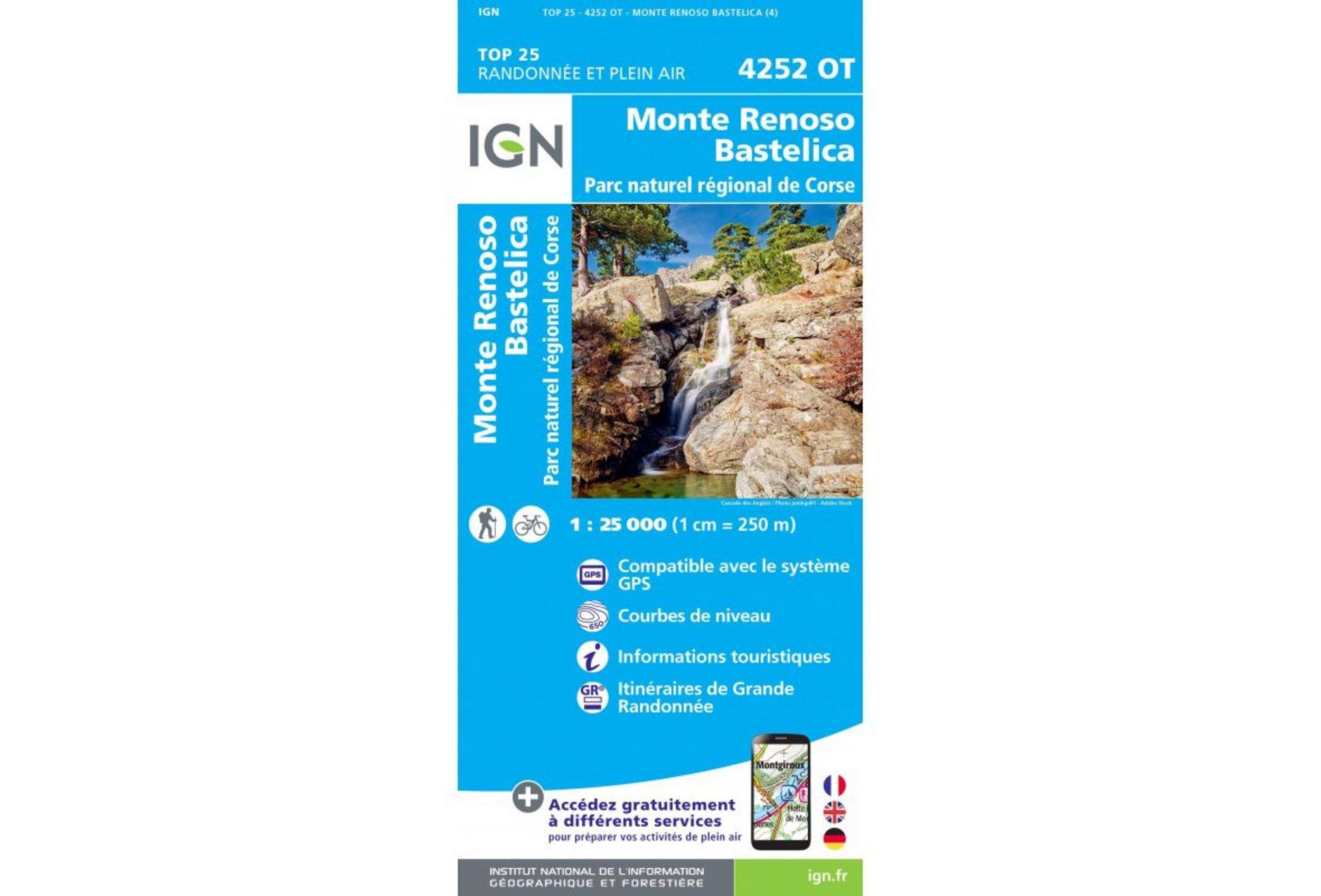 Carte IGN Monte Renoso Bastelica 4252OT Cartes