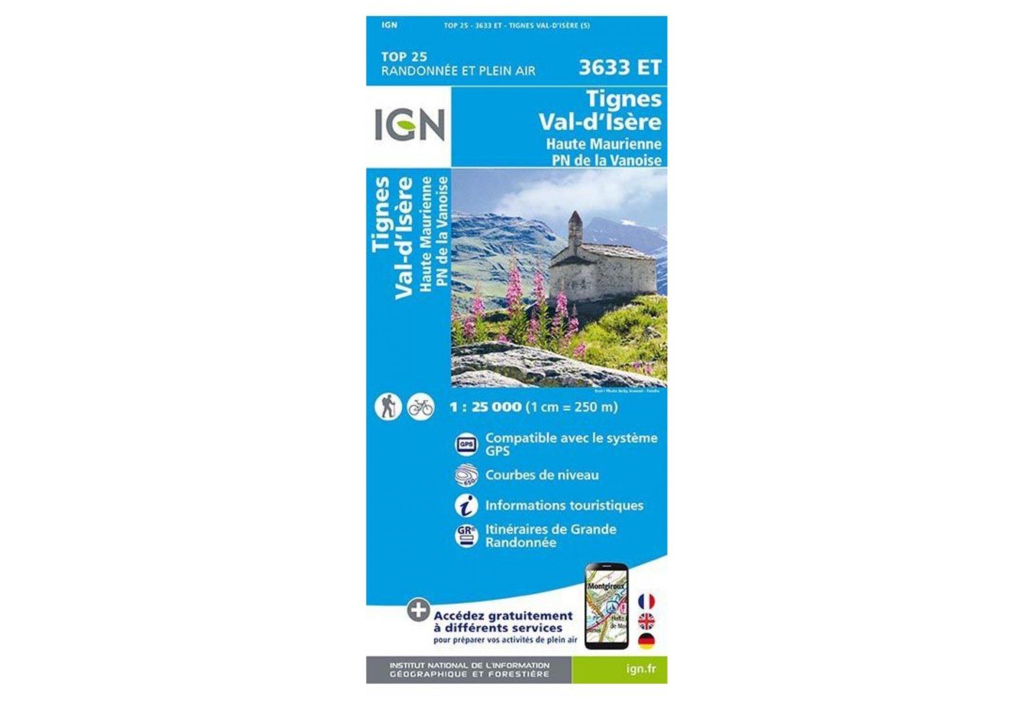 Carte IGN Tignes Val-d'Isère 3633ET Cartes