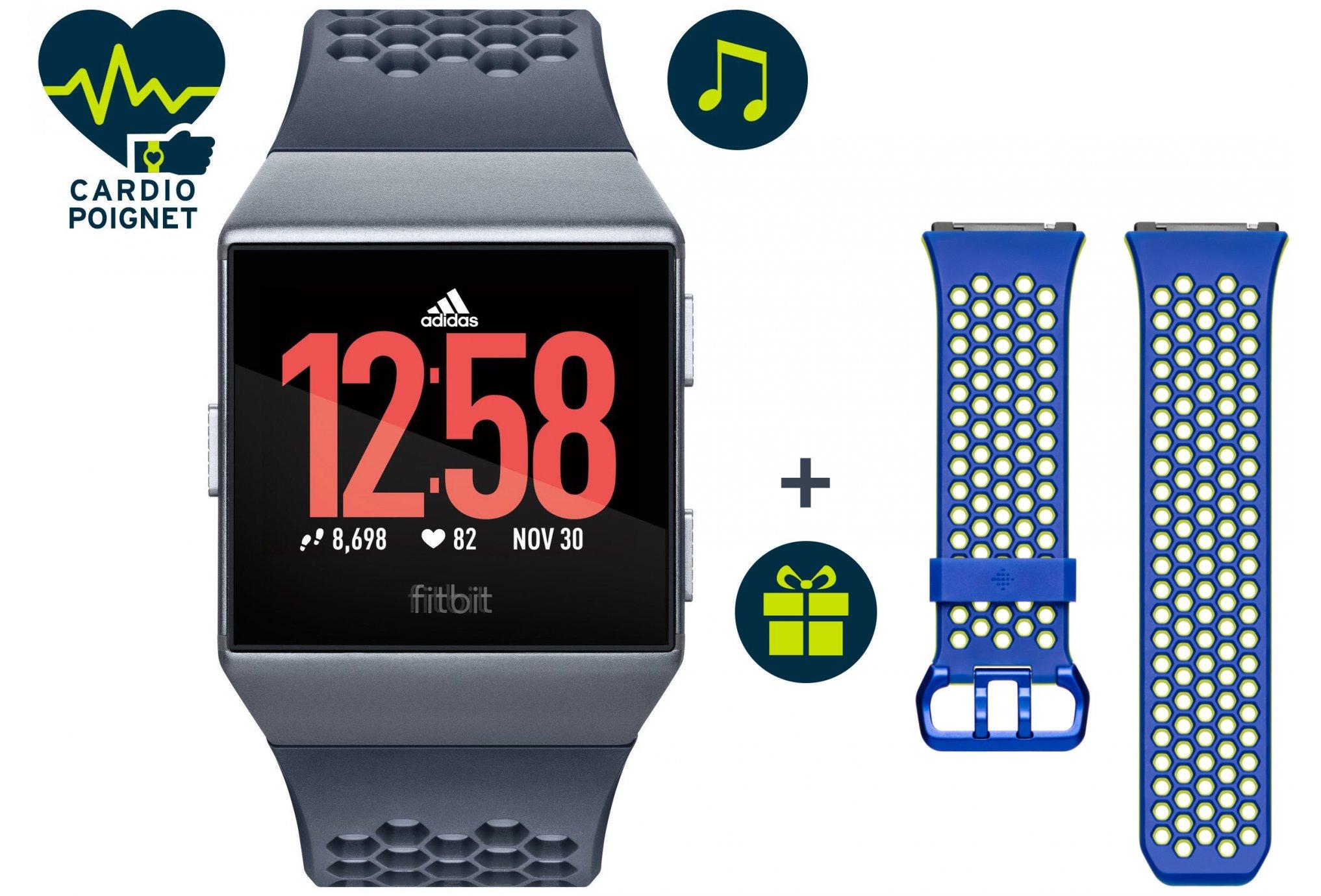Fitbit Pack ionic édition adidas + bracelet sport offert cardio-Gps