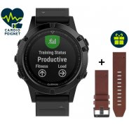 Garmin Pack Fenix 5 Sapphire GPS Multisport + Bracelet cuir QuickFit