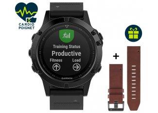 Garmin Reloj GPS Fenix 5 Sapphire Multisports + correa de cuero QuickFit