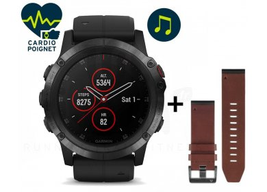 Garmin Pack Fenix 5X Plus Black Sapphire + Bracelet cuir QuickFit - 26mm