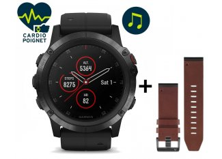 Garmin Pack Fenix 5X Plus Black Sapphire + correa de cuero QuickFit - 26mm
