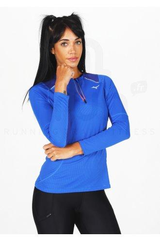 Mizuno Alpha Demi Zip Manches Longues Femme Running Top-Bleu