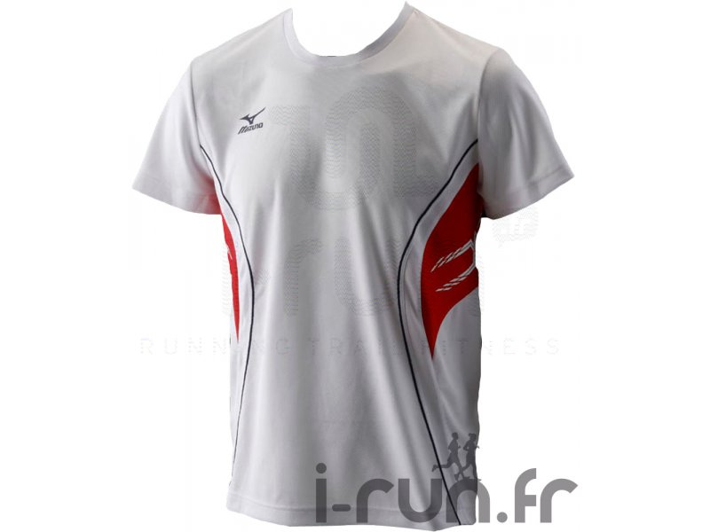 Blanc Courtes Ts Team Manches Homme Mizuno Rouge Vêtements Running xshQdCtr