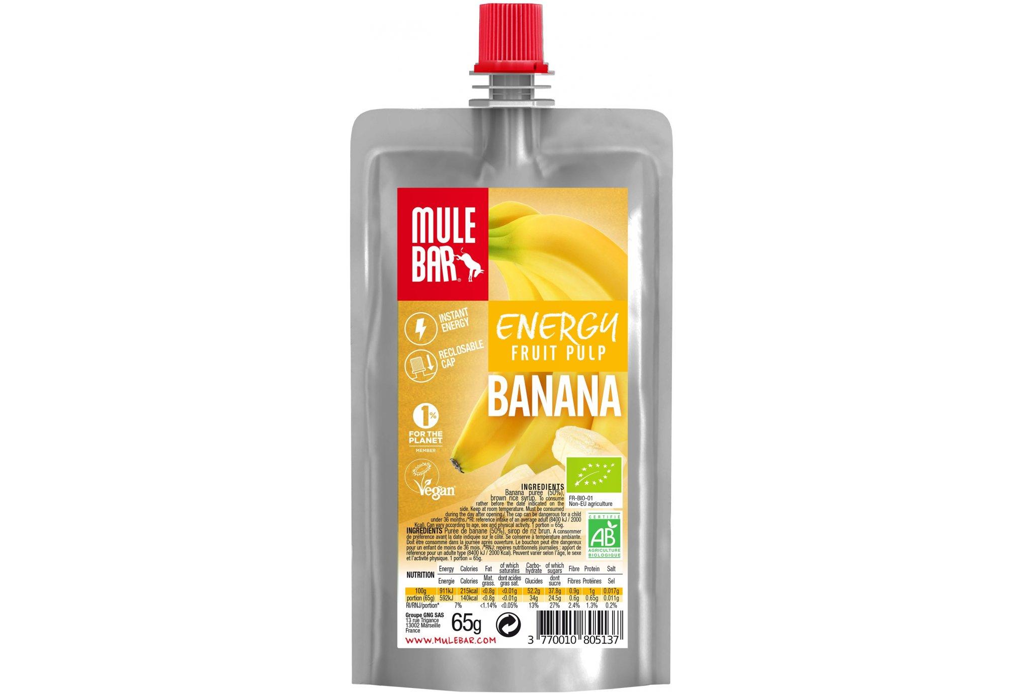 Mulebar Pulpe de fruits Bio & Vegan - Banane Diététique Gels