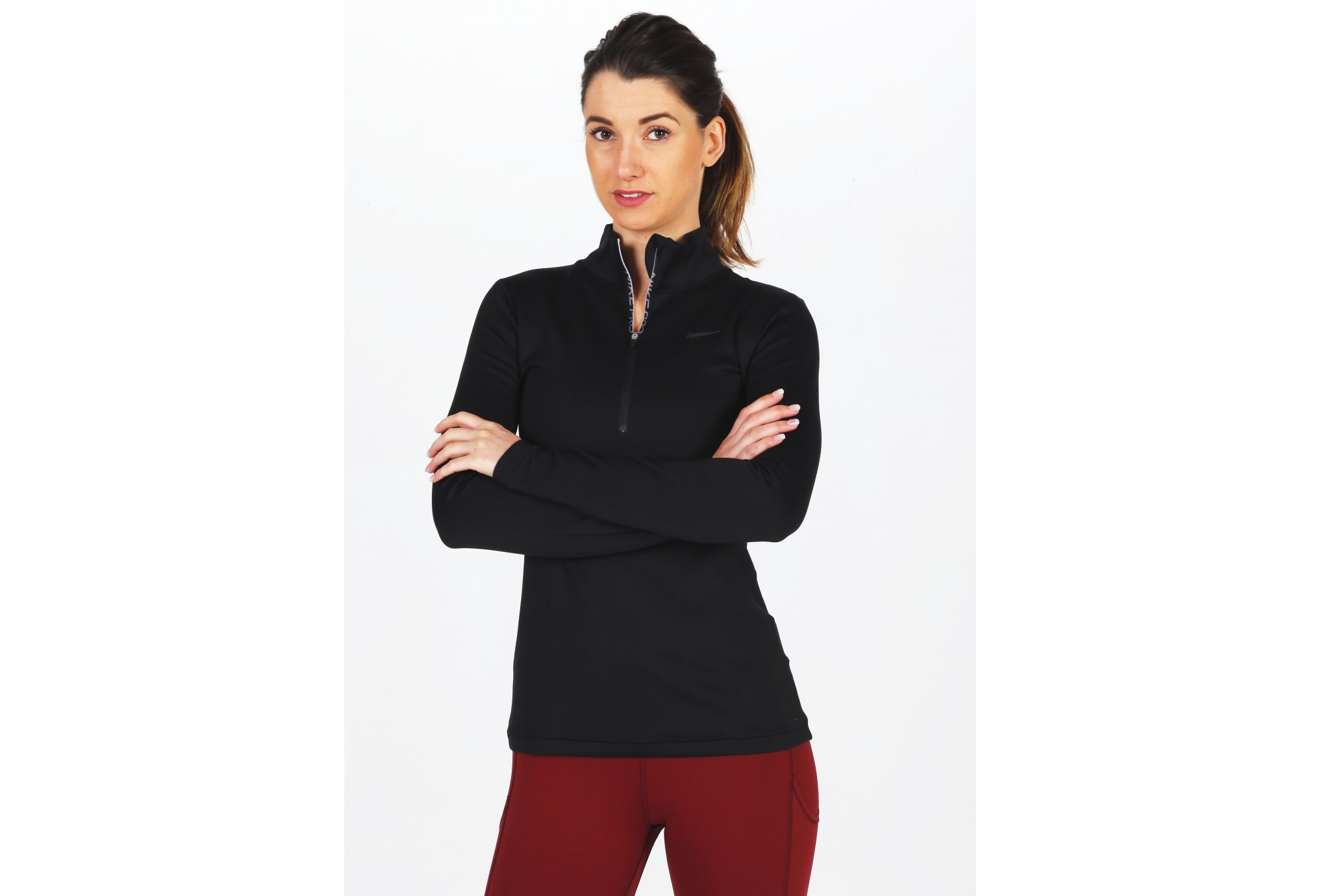 Nike Pro Therma Warm 1/2 zip W vêtement running femme