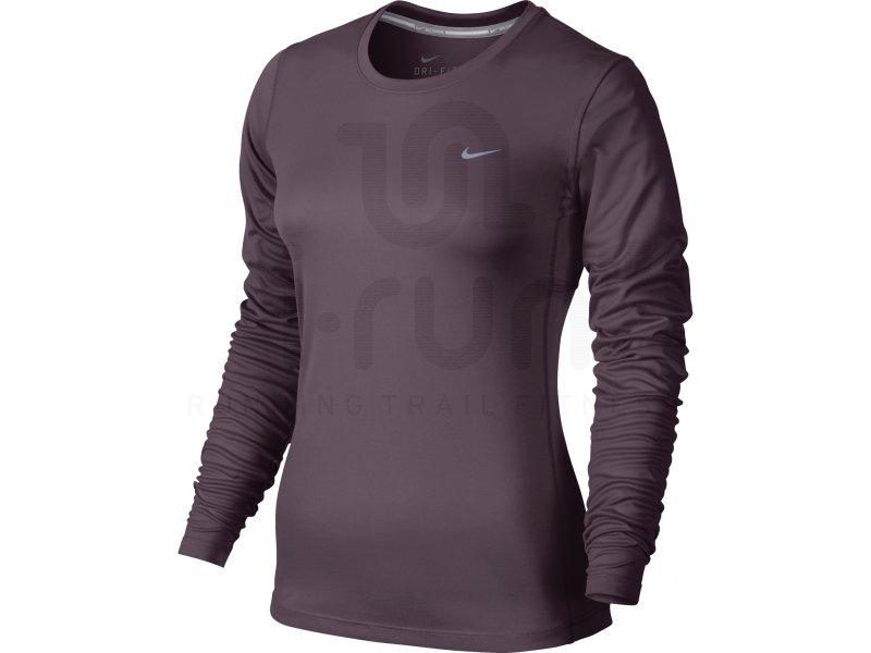Nike Tee shirt Dri Fit Miler W Vêtements femme Manches longues