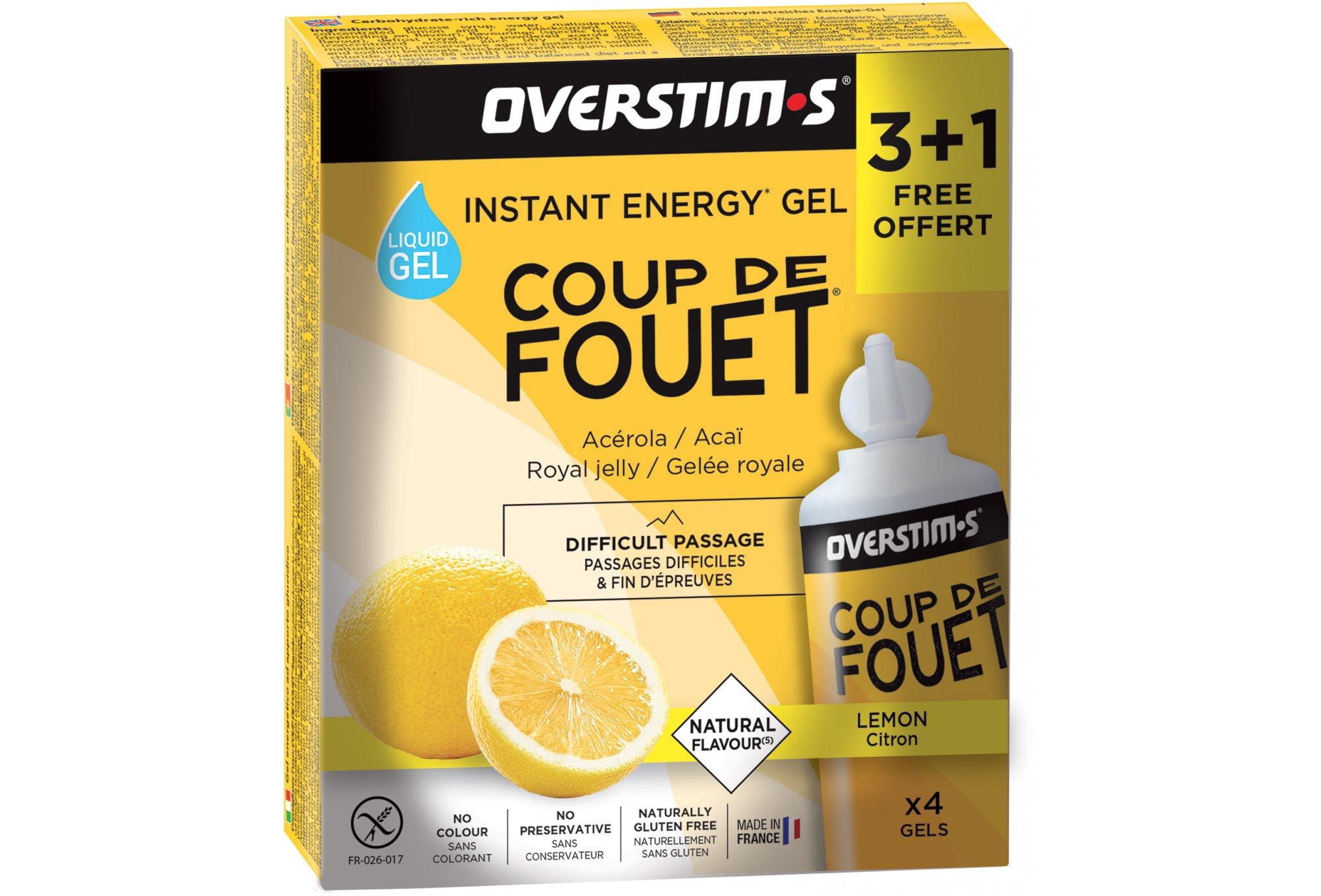 OVERSTIMS Étui Gels Energie Instantanée Coup de Fouet 3+1 - Citron Diététique Gels