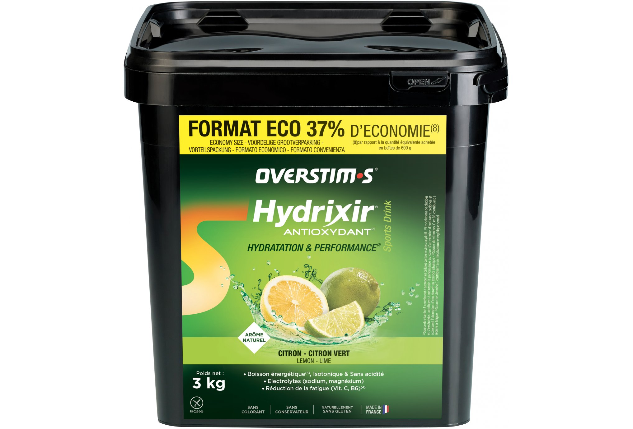 OVERSTIMS Hydrixir 3 kg - Citron/Citron vert Diététique Boissons